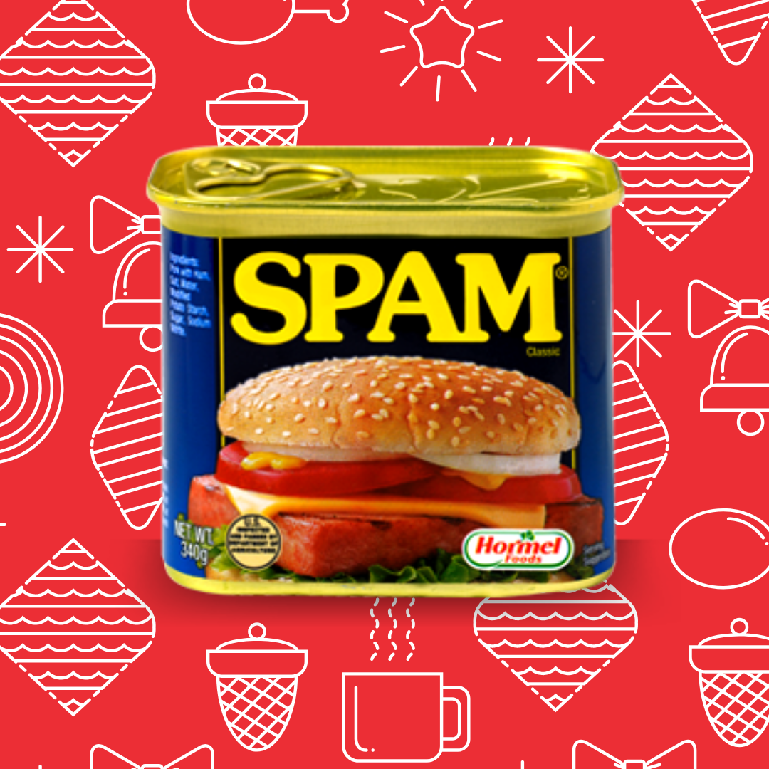 Can of Spam surrounded by line drawings of ornaments, acorns, hot chocolate, and bells.
